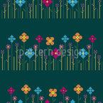 Flower Meadow Bordure Seamless Vector Pattern Design