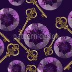 Kristalle Und Schlüssel Nahtloses Vektormuster