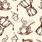 Coffee And Cupcakes Seamless Vector Pattern Design