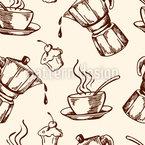 Kaffee Und Cupcakes Nahtloses Vektormuster