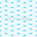 Schwimmende Fische In Wellen Nahtloses Vektormuster