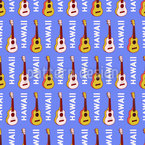Hawaiian Guitar Seamless Vector Pattern Design