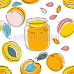 Apricot Jam And Fruits Seamless Vector Pattern Design