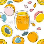 Aprikosenmarmelade Und Früchte Nahtloses Vektormuster