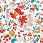 Feuervogel Und Johannisbeeren Nahtloses Vektormuster