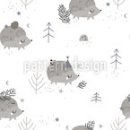Festive Hedgehogs Seamless Vector Pattern Design