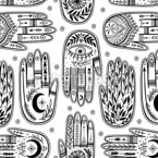 Hands With Mystic Symbols Seamless Vector Pattern Design