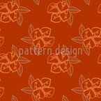 Coral Tree Flowers Seamless Vector Pattern Design
