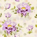 Pfingstrosenblüten Und Blätter Nahtloses Vektormuster
