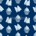 Christmas Sweets And Cupcakes Seamless Vector Pattern Design