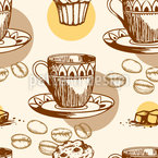 Coffee Cups And Coffee Beans Seamless Vector Pattern Design