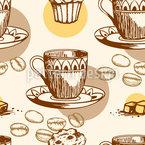 Kaffeetassen Und Kaffeebohnen Nahtloses Vektormuster