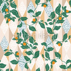Plants On Terrazzo Tiles Seamless Vector Pattern Design