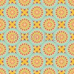 Symmetrische Fantasieblume Nahtloses Vektormuster