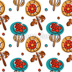 Abstract Poppy Field Seamless Vector Pattern Design