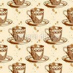 Coffee Cups Seamless Vector Pattern Design