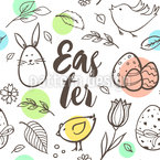 Easter Drawing Seamless Vector Pattern Design