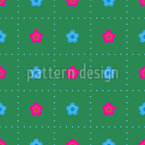 Small Flowers In A Grid Seamless Vector Pattern Design