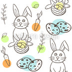 Easter Bunny Doodle Seamless Vector Pattern Design