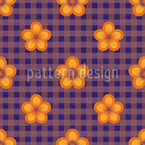 Flowers In Plaid Paradise Seamless Vector Pattern Design