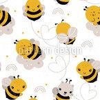 Glückliche Bienen Nahtloses Vektormuster