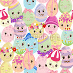 Easter Egg Friends Seamless Vector Pattern Design