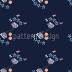 Flowers With Tiny Butterflies Seamless Vector Pattern Design