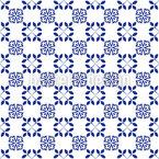 Minimalistic Floral Azulejo Tile Seamless Vector Pattern Design
