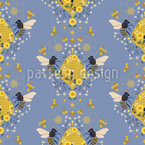 Hive And Flowers Seamless Vector Pattern Design