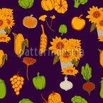 Herbstliche Gesunde Ernte Nahtloses Vektormuster