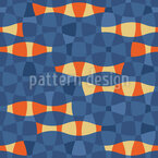 Koi In The Waves Seamless Vector Pattern Design