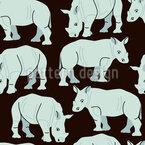 Afrikanische Nashörner Nahtloses Vektormuster