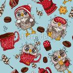 Sleepy Owls Seamless Vector Pattern Design