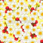Summery Flower Composition Seamless Vector Pattern Design