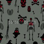 Horror-Skelett Nahtloses Vektormuster