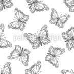 Butterfly Doodle Seamless Vector Pattern Design