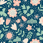 Flowers And Rain Seamless Vector Pattern Design