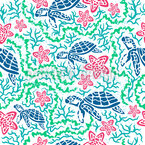 Turtles And Starfish Seamless Vector Pattern Design