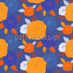 Pompon Blue Seamless Vector Pattern Design