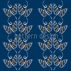 Attracting Butterflies In Blue Seamless Vector Pattern Design