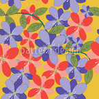 Petals And Leaves Yellow Seamless Vector Pattern Design