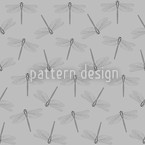 Flight Of The Dragonfly Grey Seamless Vector Pattern Design