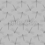 Flug Der Libelle Grau Nahtloses Vektormuster