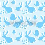 Hoppelhasen Blau Nahtloses Muster