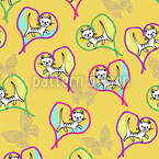 Love Cats Seamless Vector Pattern Design
