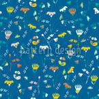 Fantasie In Blau Nahtloses Vektormuster