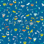 Fantasy In Blue Seamless Vector Pattern Design