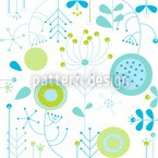 Liljana Aqua Seamless Vector Pattern Design