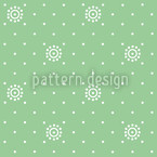 Flowers On Green Seamless Vector Pattern Design