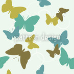 Time Of The Butterflies Green Seamless Vector Pattern Design